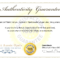 Certificate Of Authenticity Template Psd Word Artist Free Within Certificate Of Authenticity Template