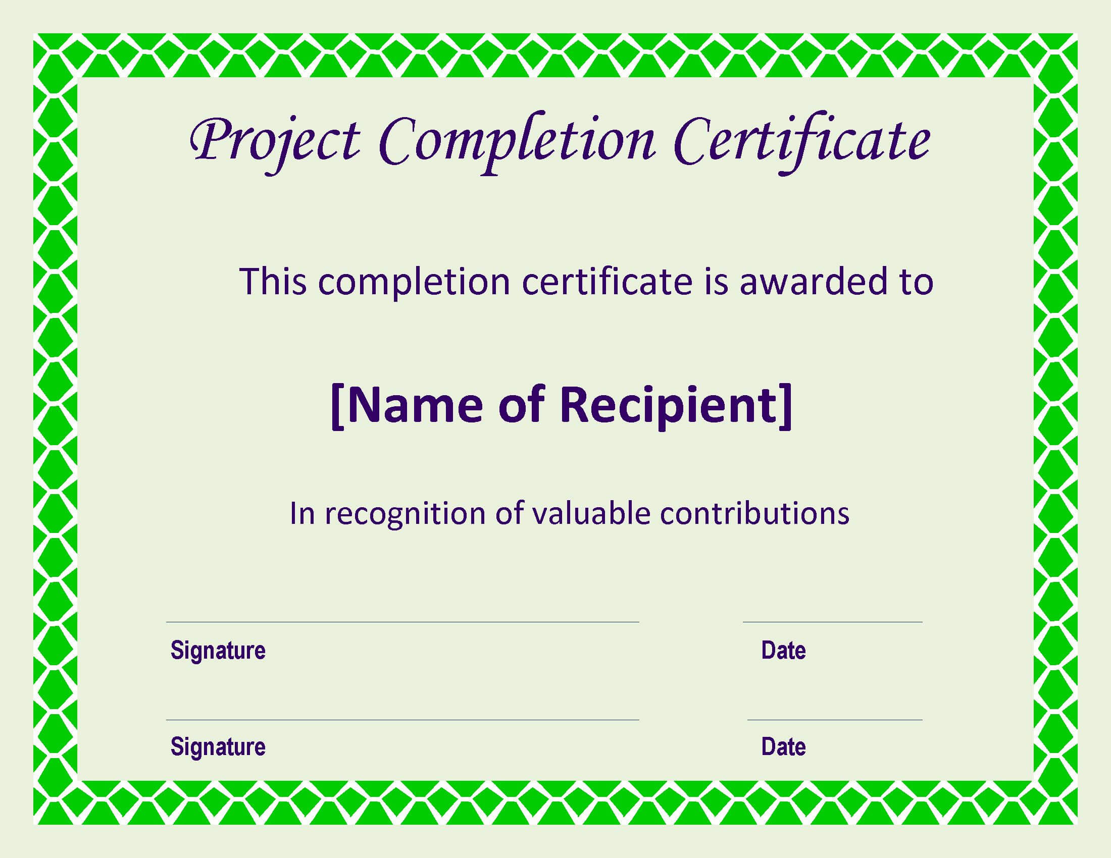 Certificate Of Completion Project | Templates At Within Certificate Template For Project Completion