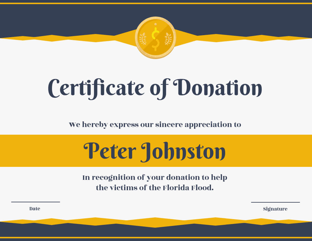 Certificate Of Donation Template Inside Donation Certificate Template