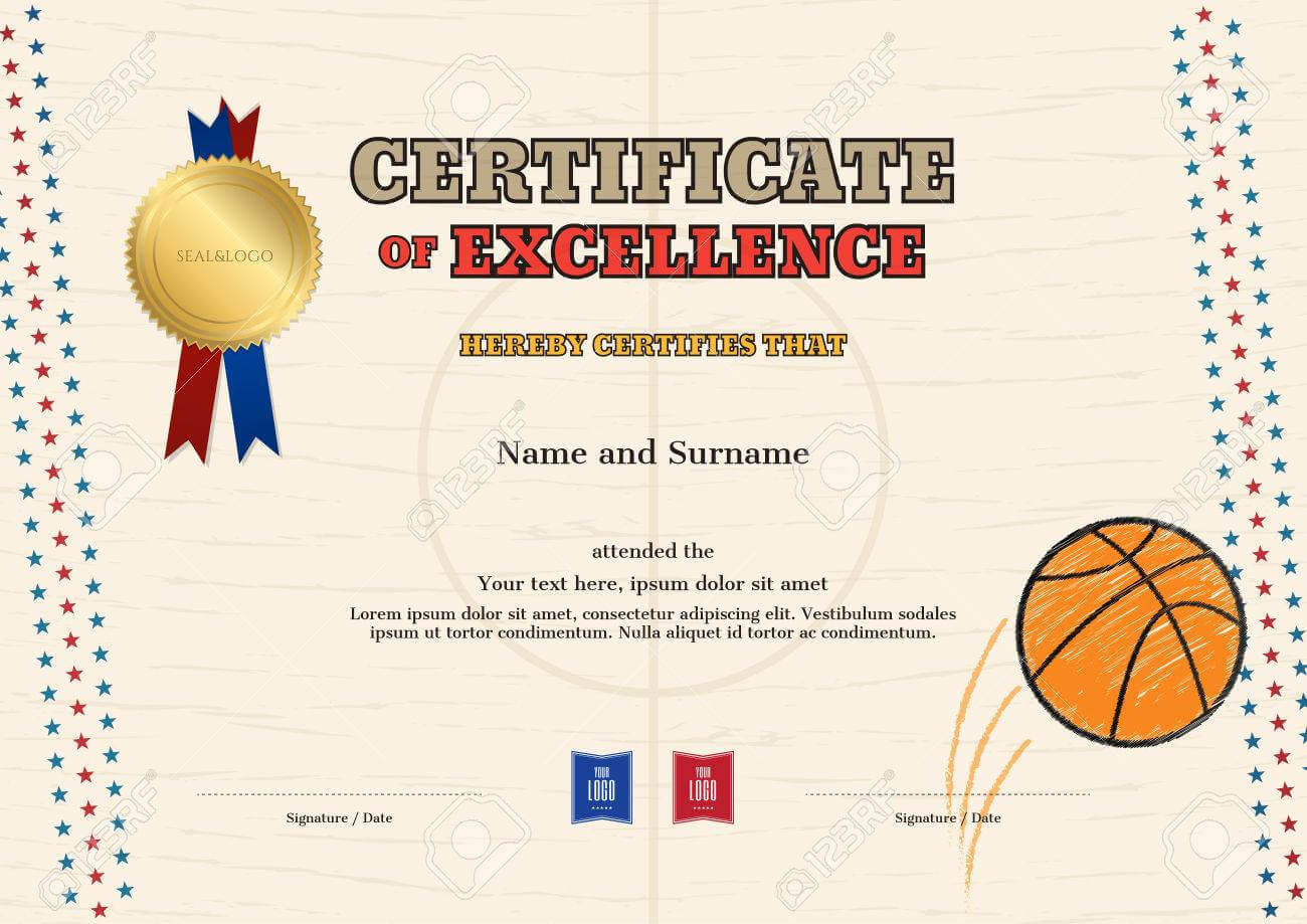 Certificate Of Excellence Template In Sport Theme For Basketball.. Throughout Basketball Camp Certificate Template