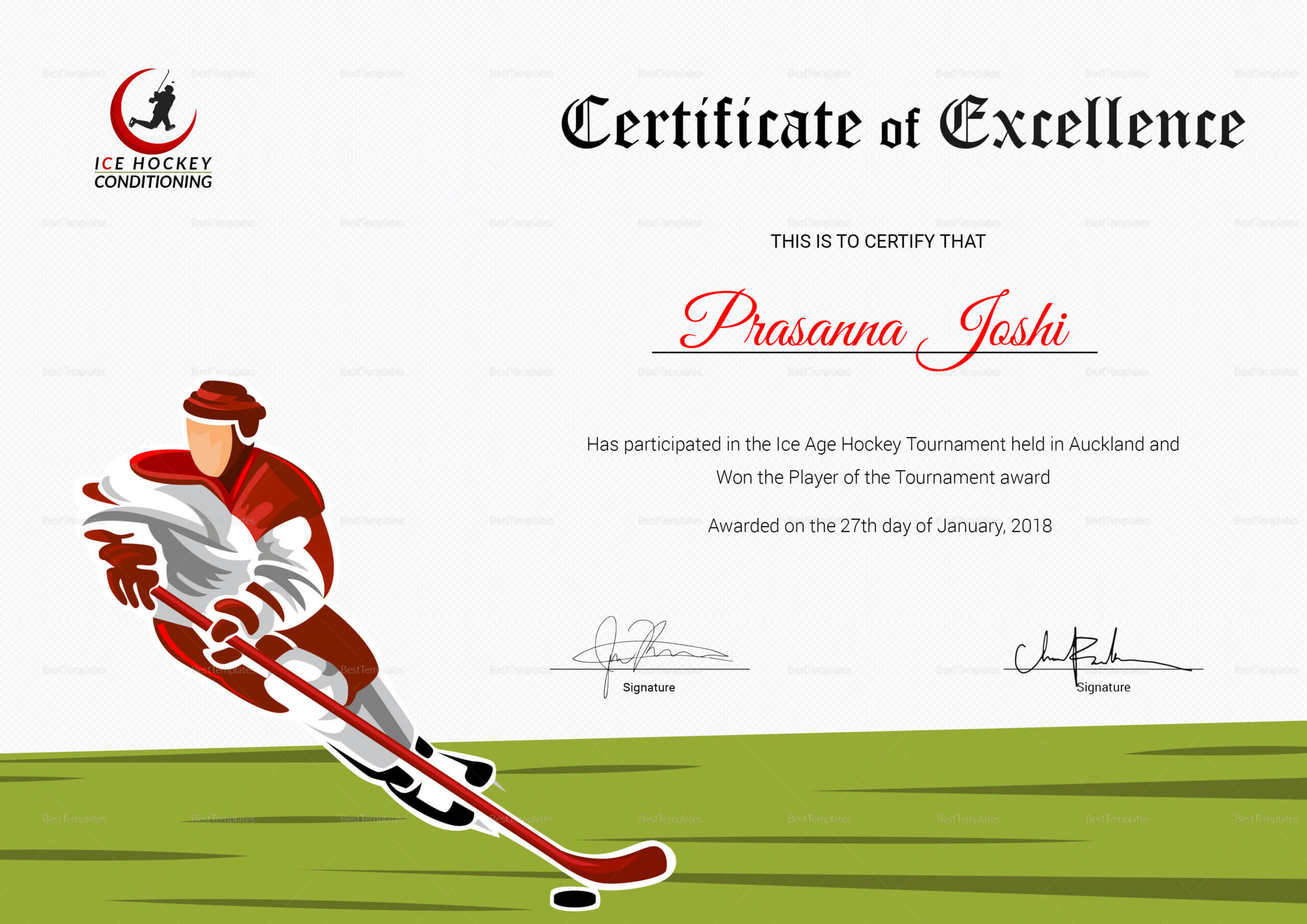 Certificate Of Hockey Performance Template Intended For Hockey Certificate Templates