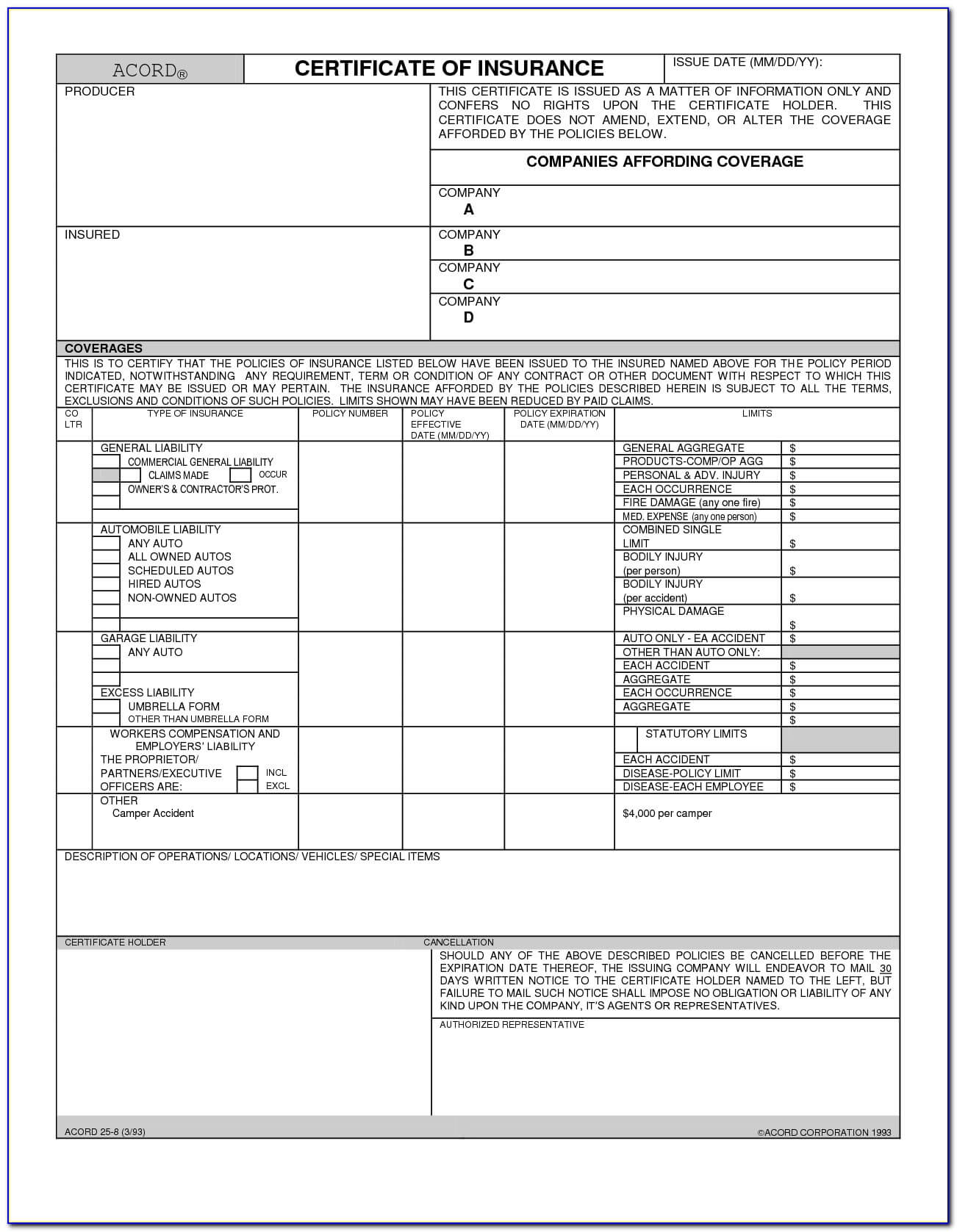 Certificate Of Liability Insurance Form Acord 25 - Form With Regard To Acord Insurance Certificate Template
