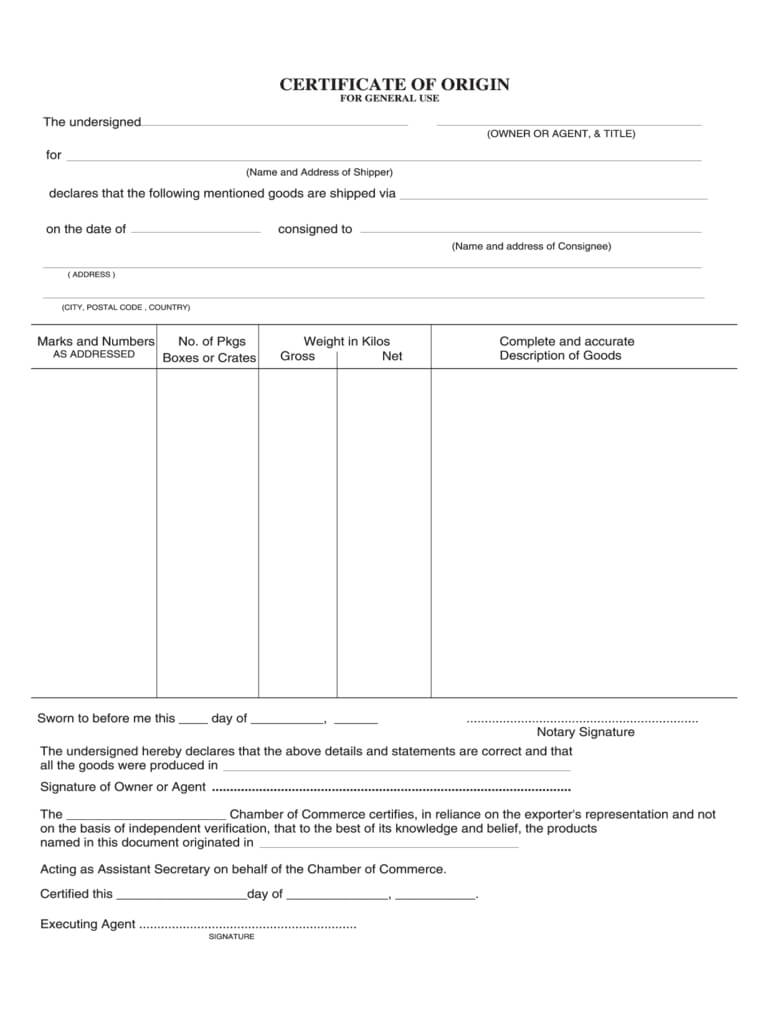 Certificate Of Origin Form – 5 Free Templates In Pdf, Word In Certificate Of Origin Template Word