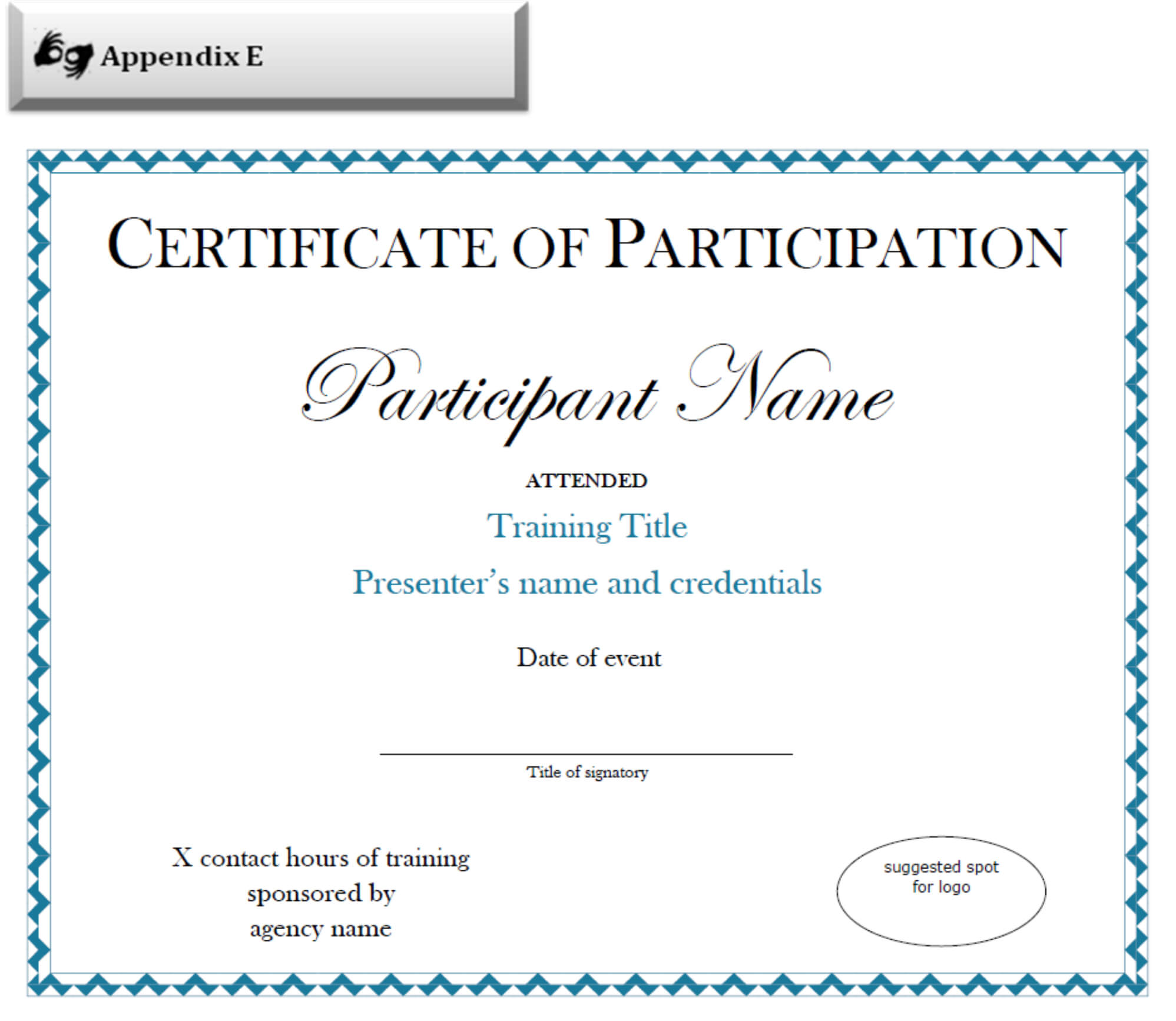 Certificate Of Participation Sample Free Download With Regard To Certificate Of Participation Template Pdf