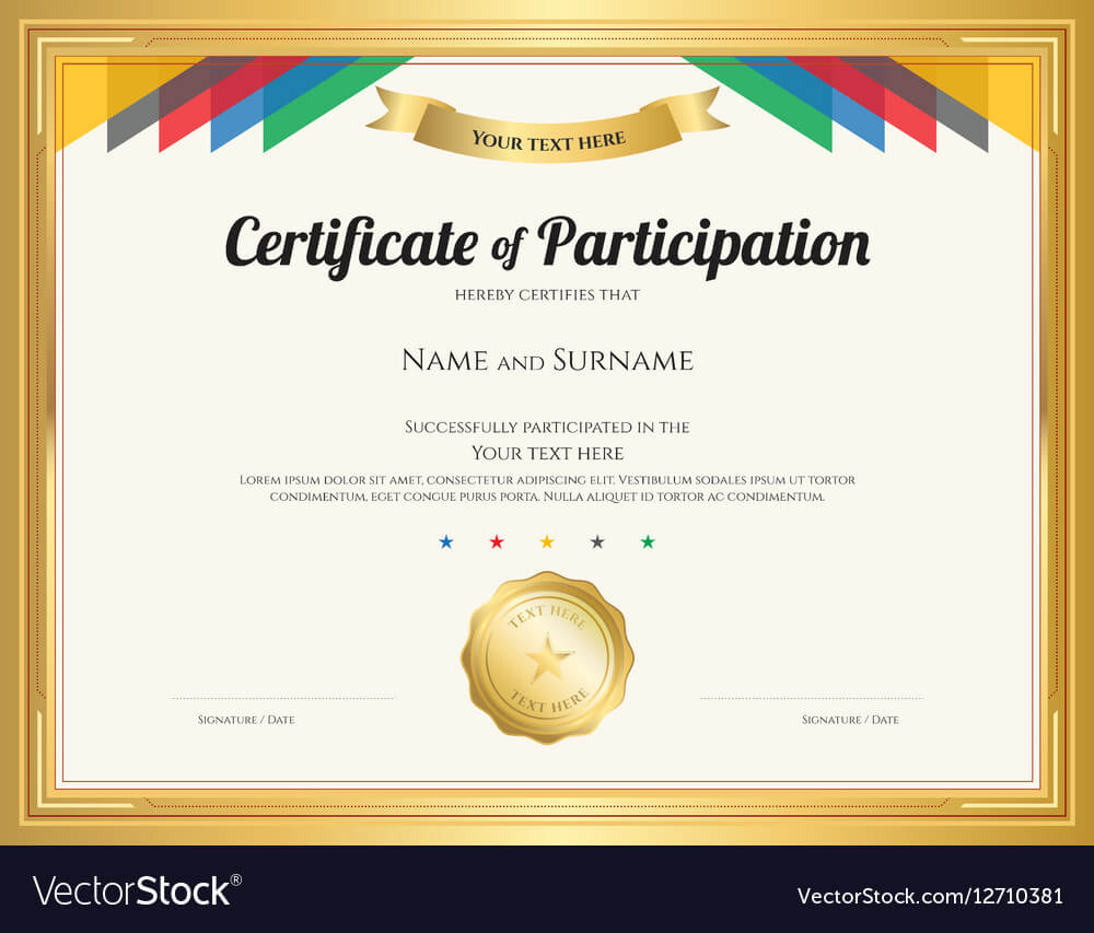 Certificate Of Participation Template For Templates For Certificates Of Participation