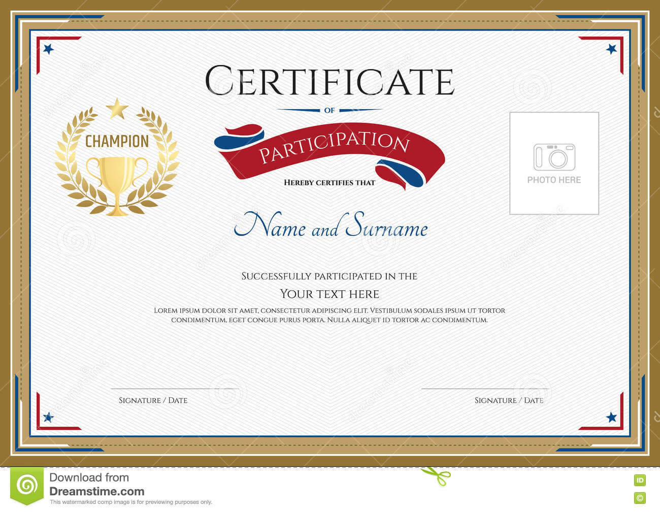 Certificate Of Participation Template In Sport Theme Stock Inside Certification Of Participation Free Template
