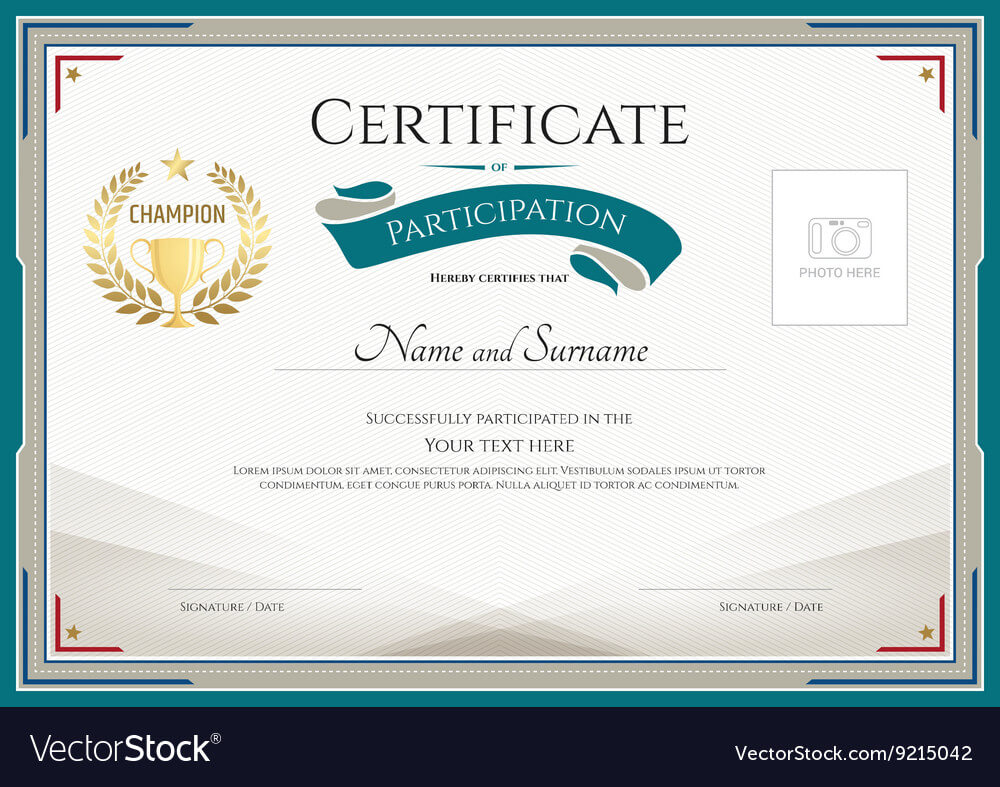Certificate Of Participation Template Throughout Free Templates For Certificates Of Participation