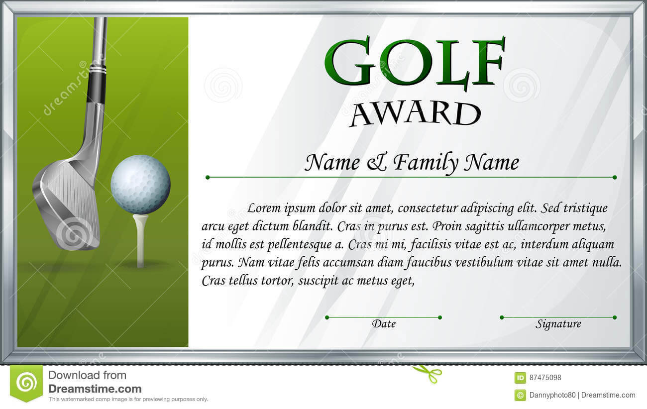 Certificate Template For Golf Award Stock Vector For Golf Certificate Template Free