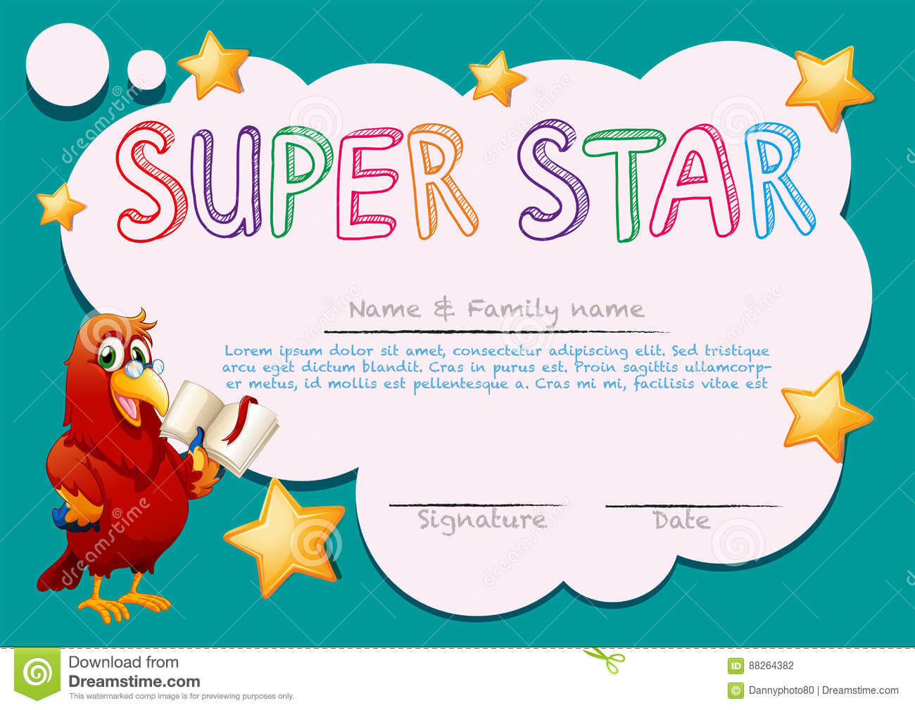 Certificate Template For Super Star Stock Vector In Star Certificate Templates Free