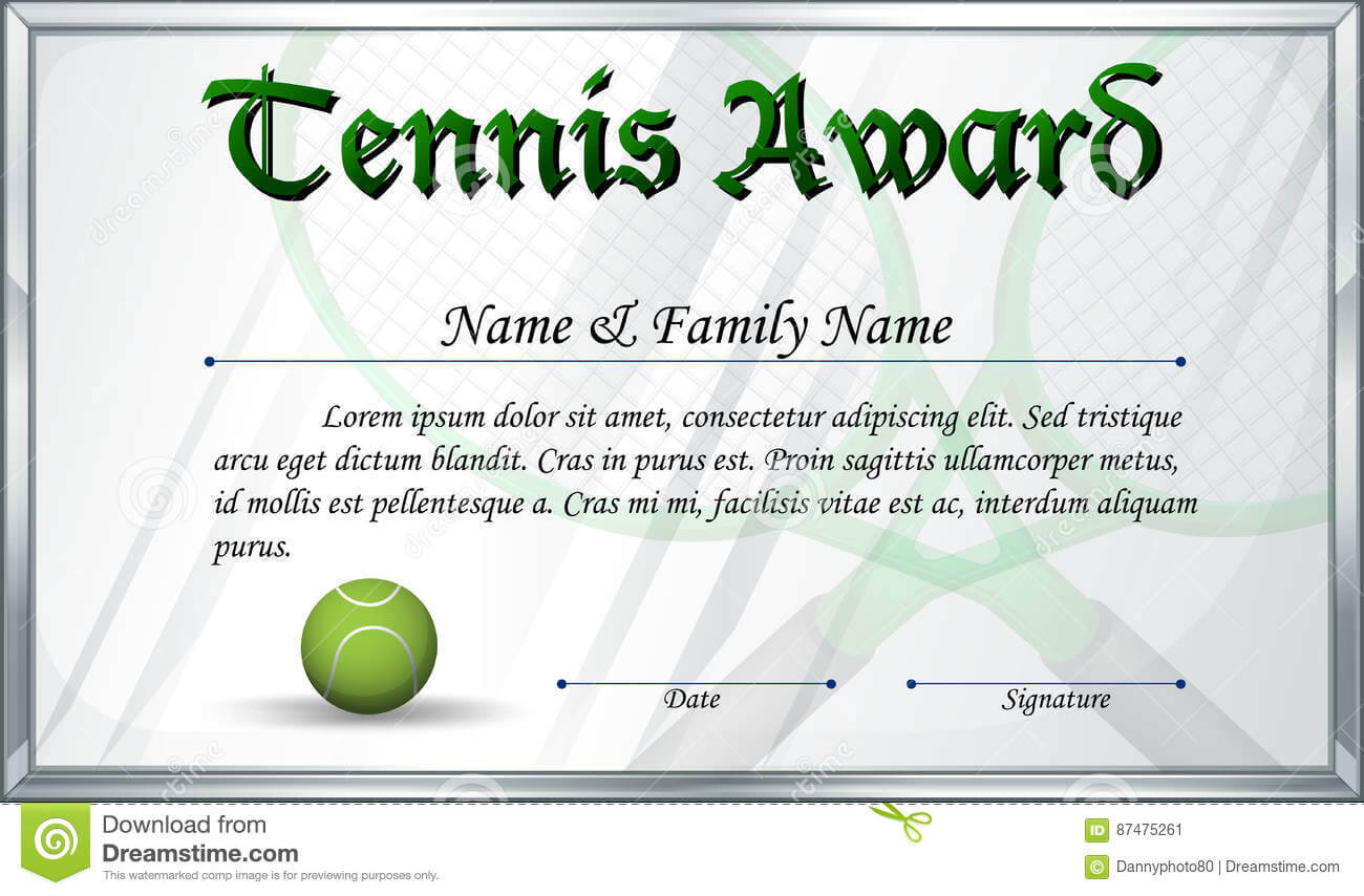 Certificate Template For Tennis Award Stock Vector Regarding Tennis Certificate Template Free