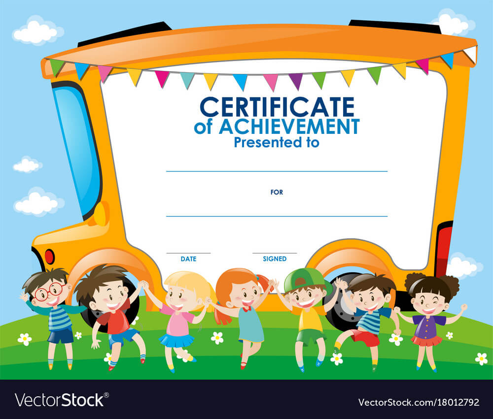 Certificate Template With Children And School Bus Throughout Certificate Of Achievement Template For Kids