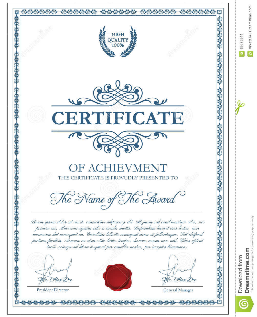 Certificate Template With Guilloche Elements. Stock Vector With Regard To Validation Certificate Template