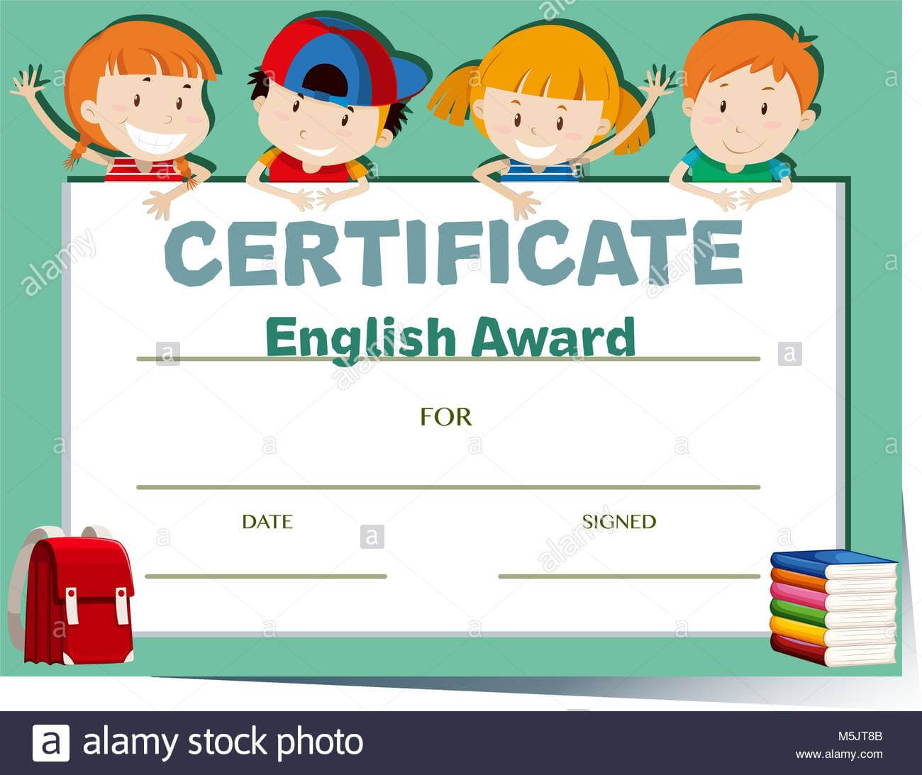 Certificate Template With Happy Kids Illustration Stock With Regard To Children's Certificate Template