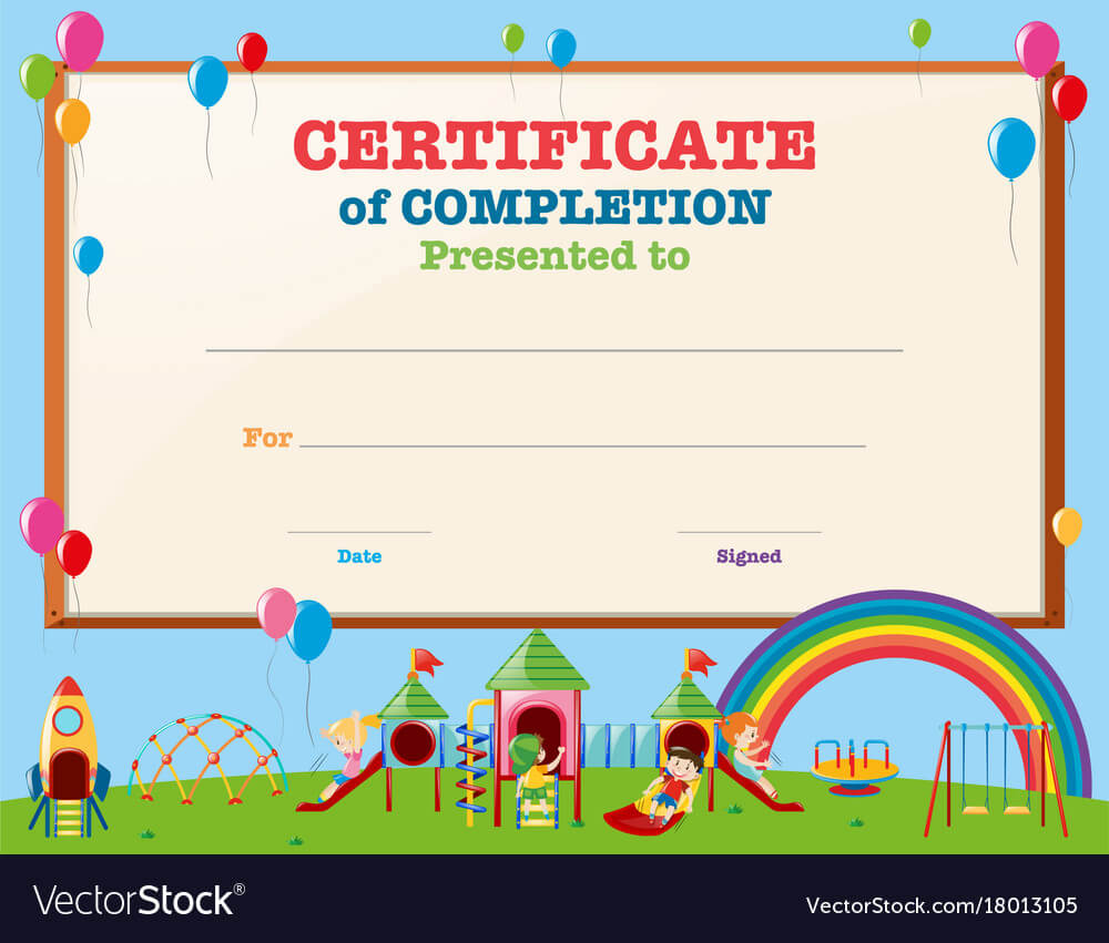 Certificate Template With Kids In Playground In Free Kids Certificate Templates