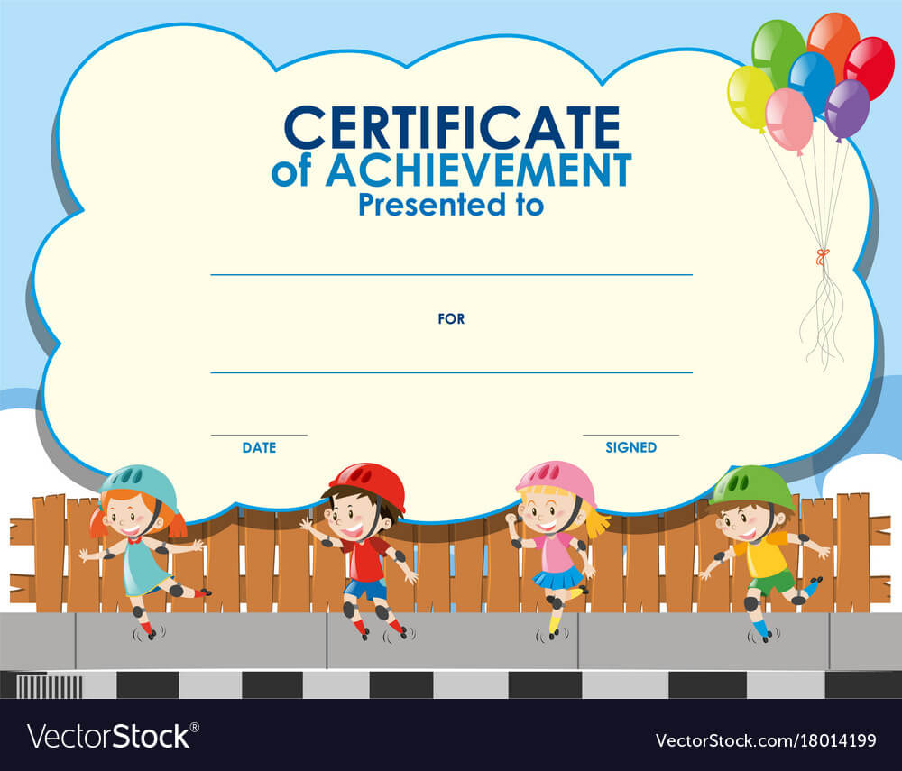 Certificate Template With Kids Skating Pertaining To Certificate Of Achievement Template For Kids