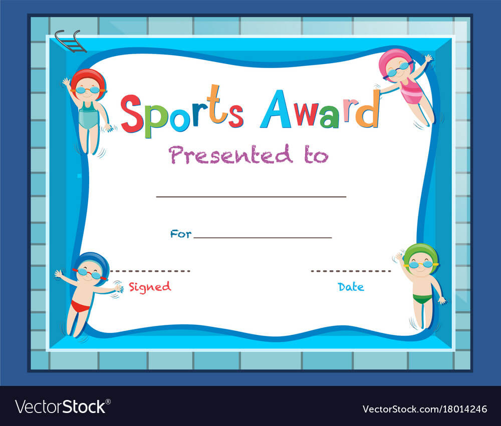 Certificate Template With Kids Swimming Inside Free Swimming Certificate Templates