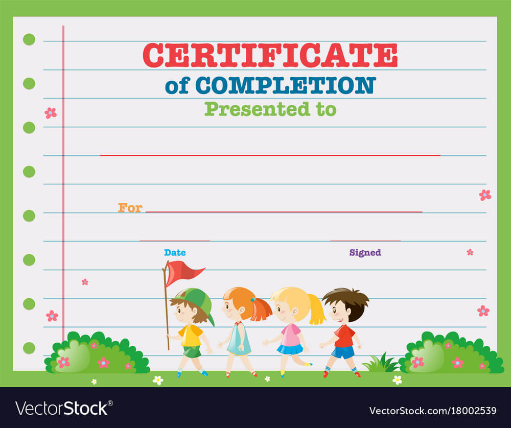 Certificate Template With Kids Walking In The Park With Walking Certificate Templates