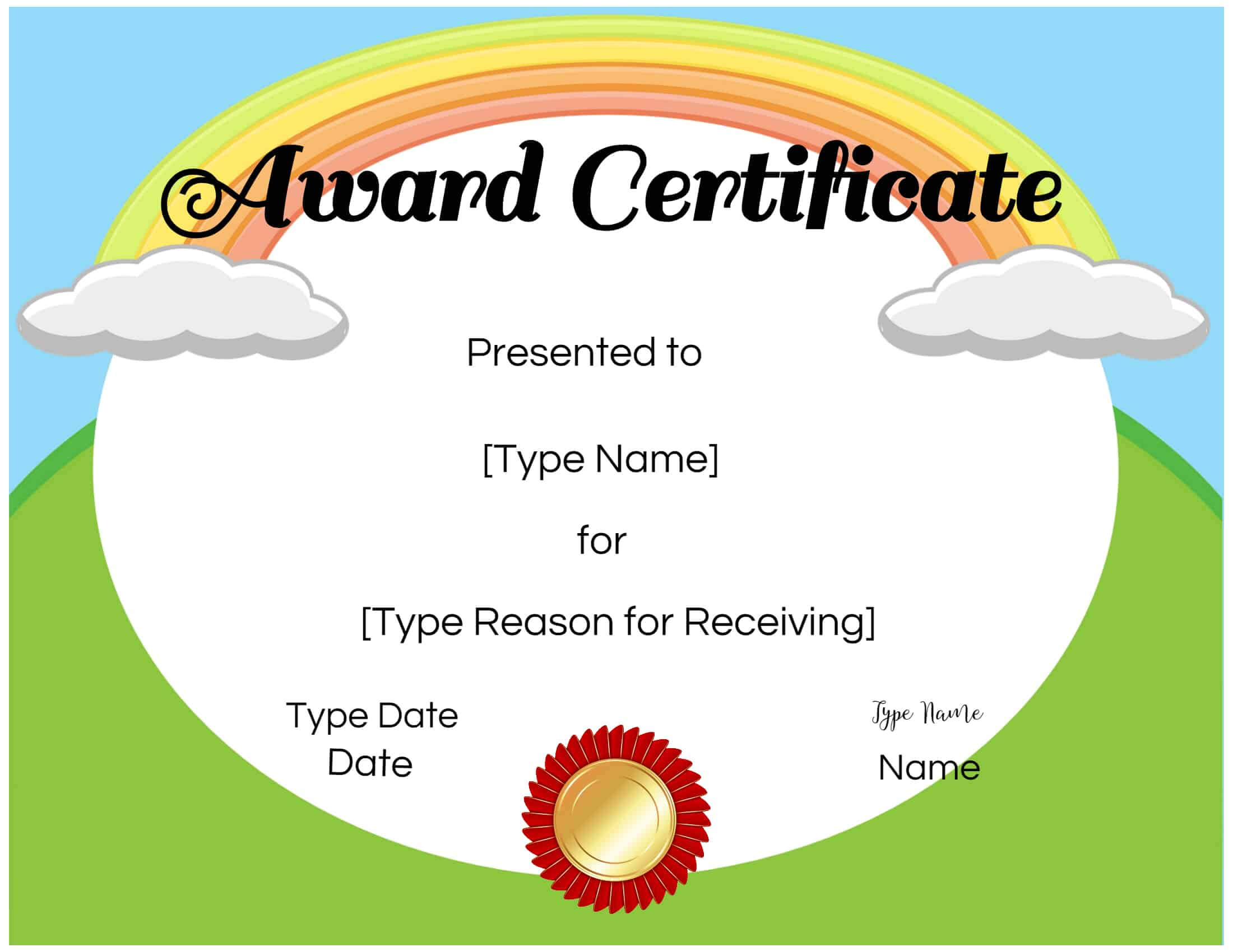 Certificates For Kids Within Certificate Of Achievement Template For Kids