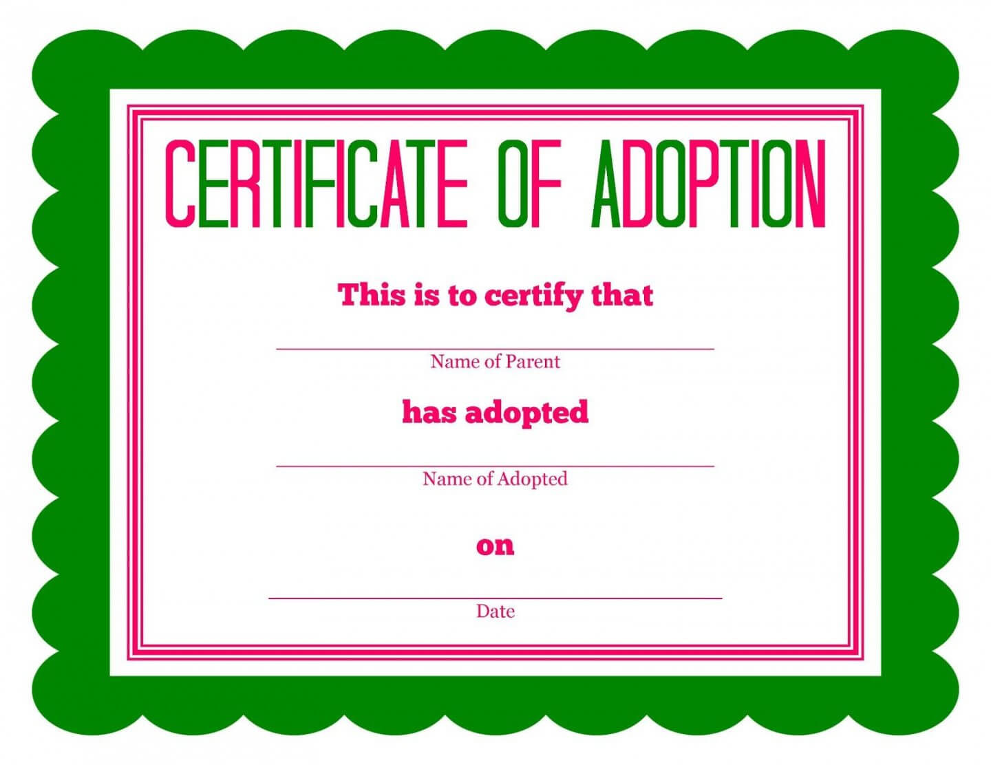 Child Adoption Certificate Template Intended For Child Adoption Certificate Template