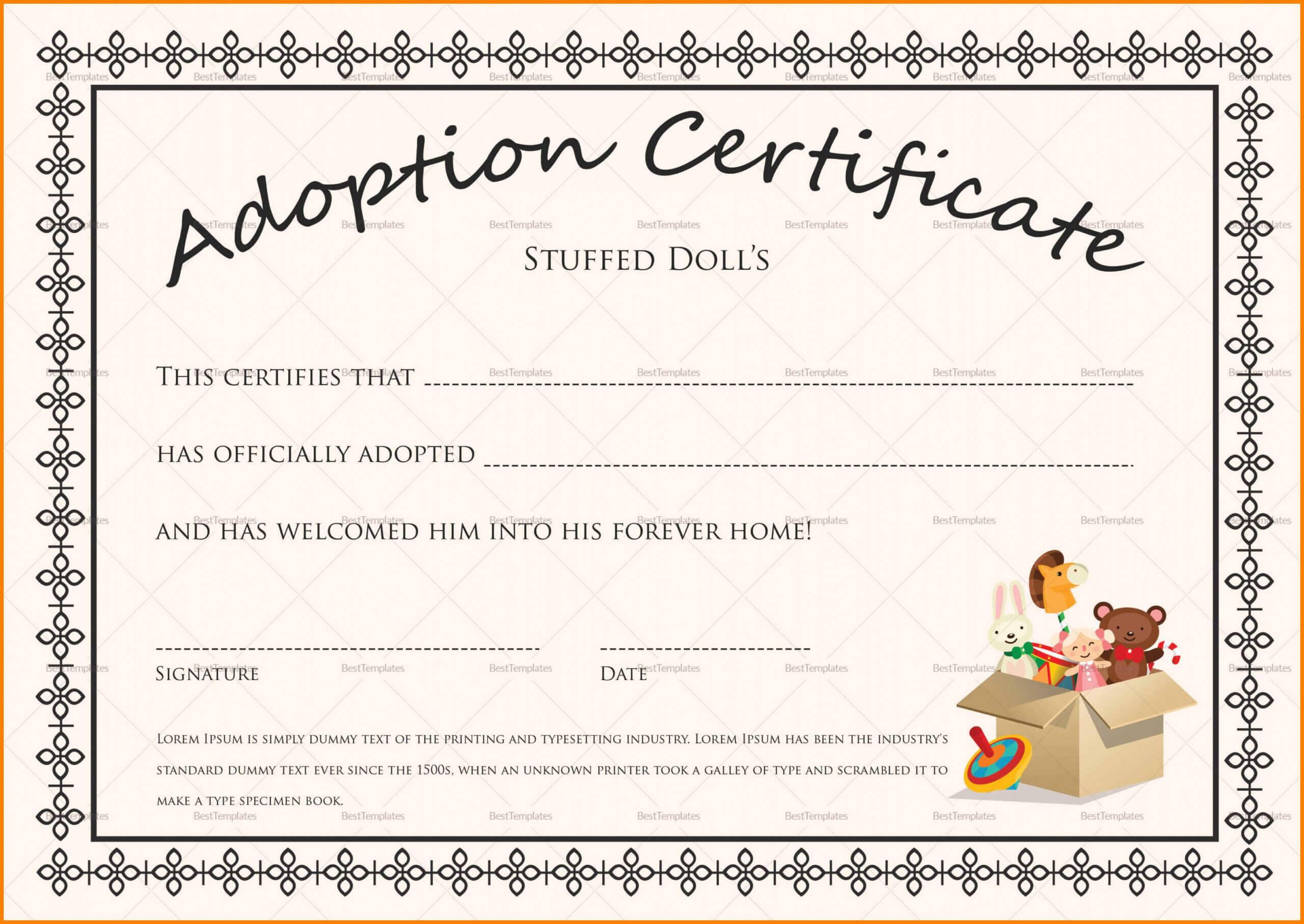 Child Adoption Certificate Template Pertaining To Blank Adoption Certificate Template