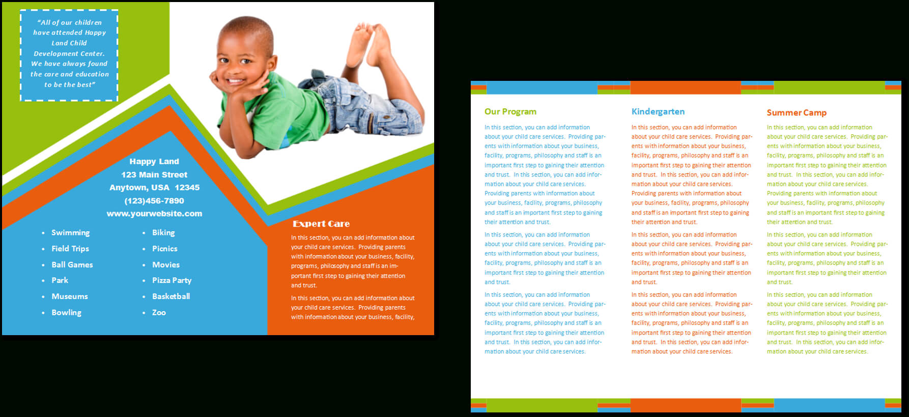 Child Care Brochure Template 26 Pertaining To Daycare Brochure Template