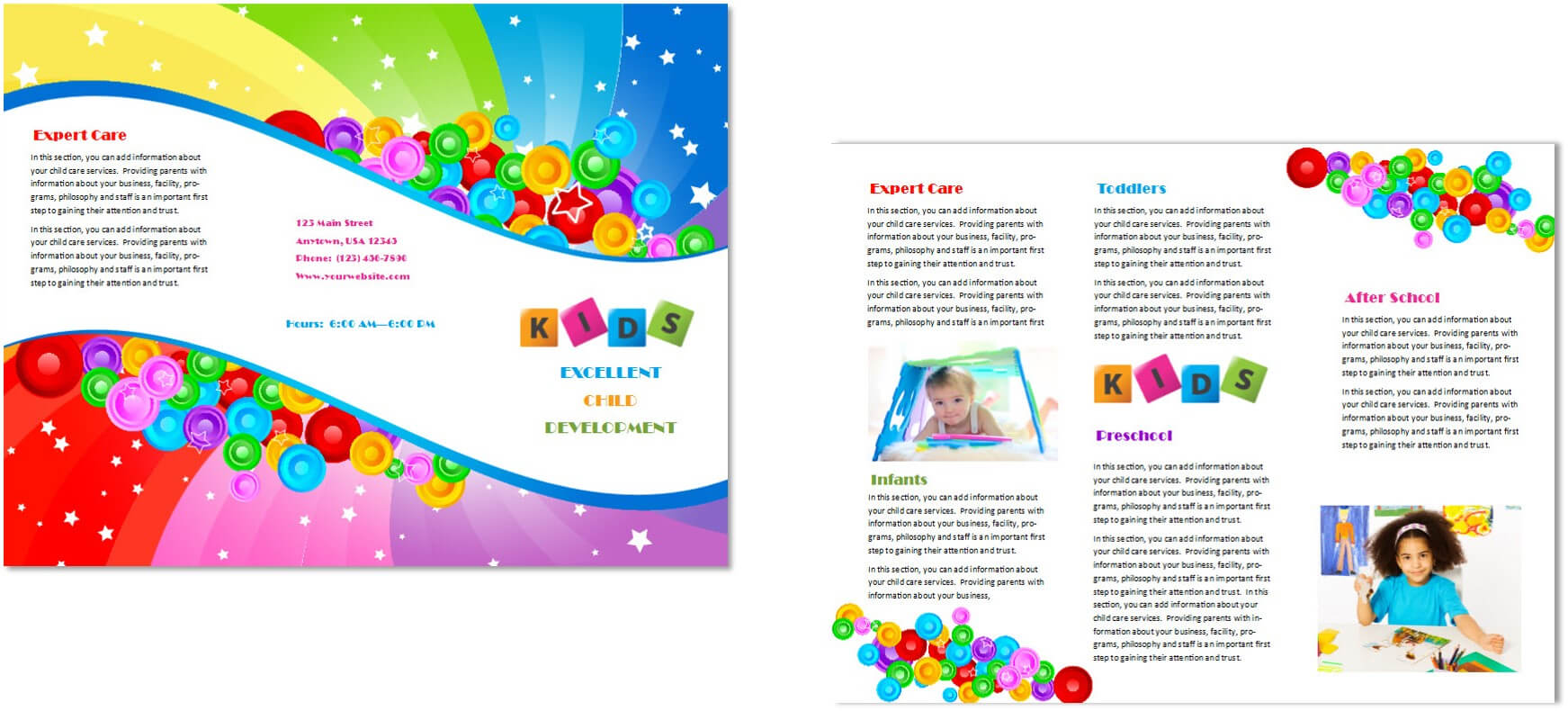 Child Care Brochure Template 7 Throughout Daycare Brochure Template