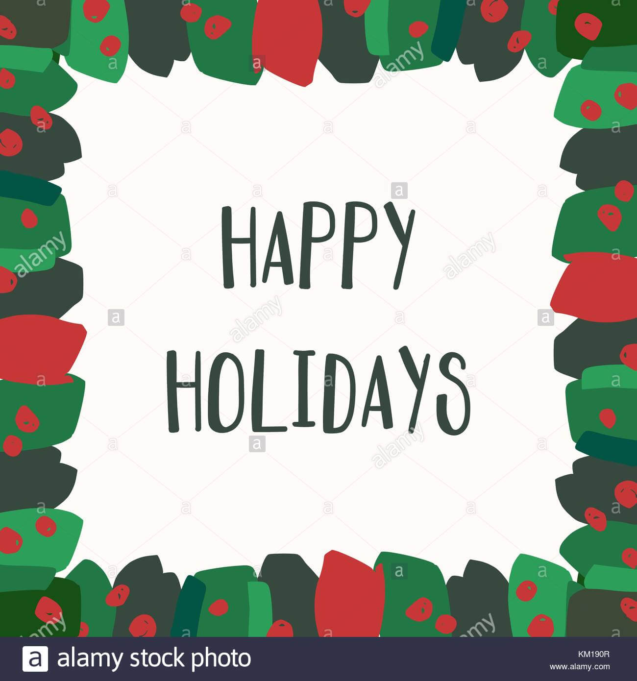Christmas Greeting Card Template With Green And Red In Happy Holidays Card Template