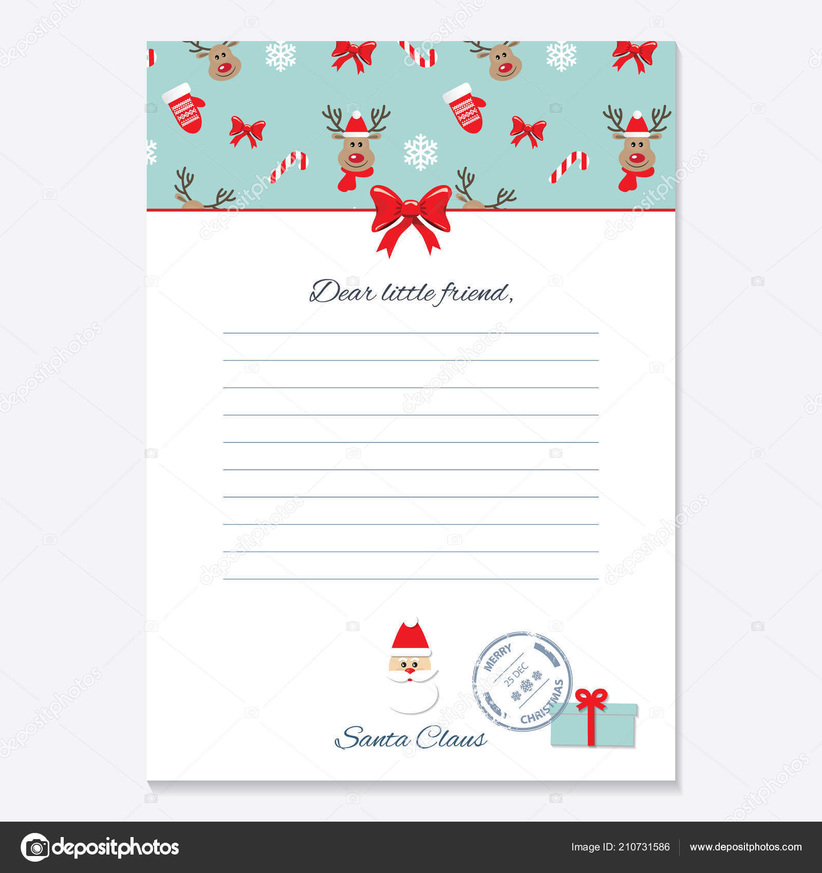Christmas Letter From Santa Claus Template. — Stock Vector With Regard To Blank Letter From Santa Template