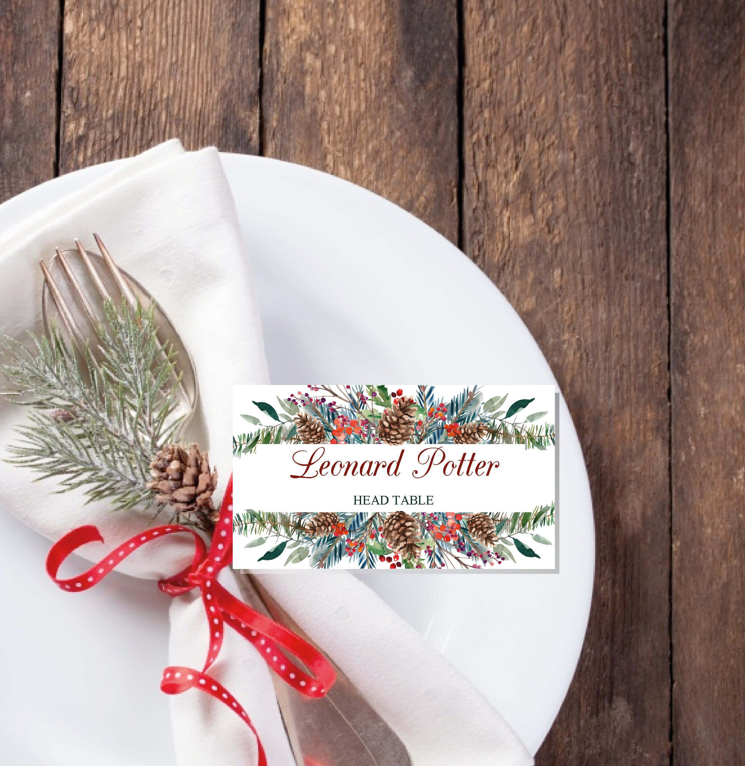 Christmas Place Cards Printable Template, Editable Names In Christmas Table Place Cards Template