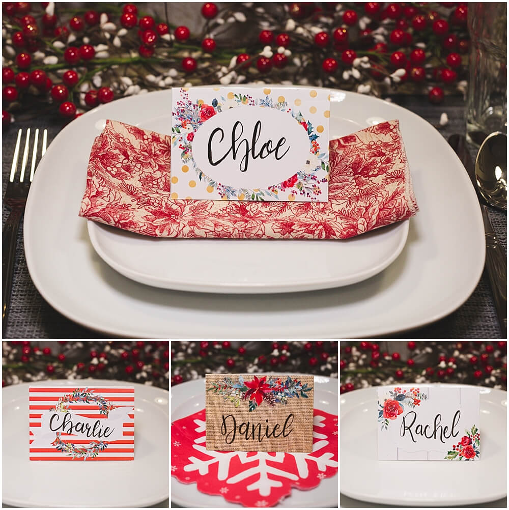 Christmas Table Place Cards { Free Printable} – Six Clever Inside Christmas Table Place Cards Template