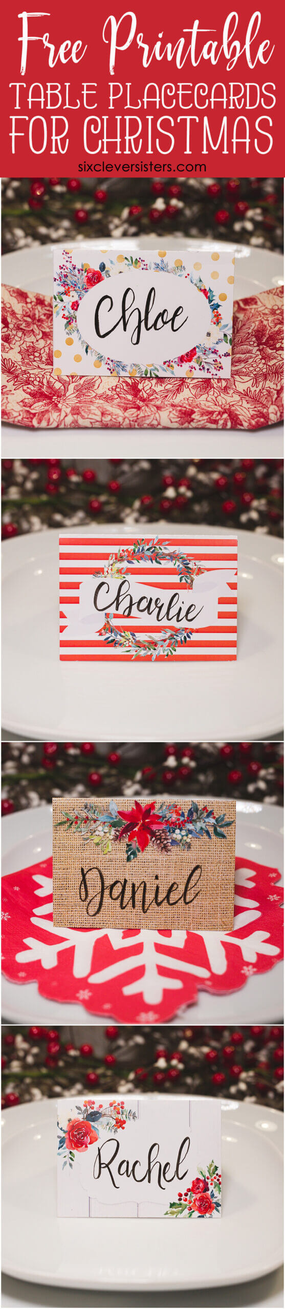 Christmas Table Place Cards { Free Printable} - Six Clever With Regard To Christmas Table Place Cards Template