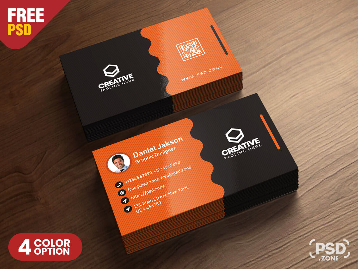 Clean Business Card Psd Templates - Psd Zone In Template Name Card Psd