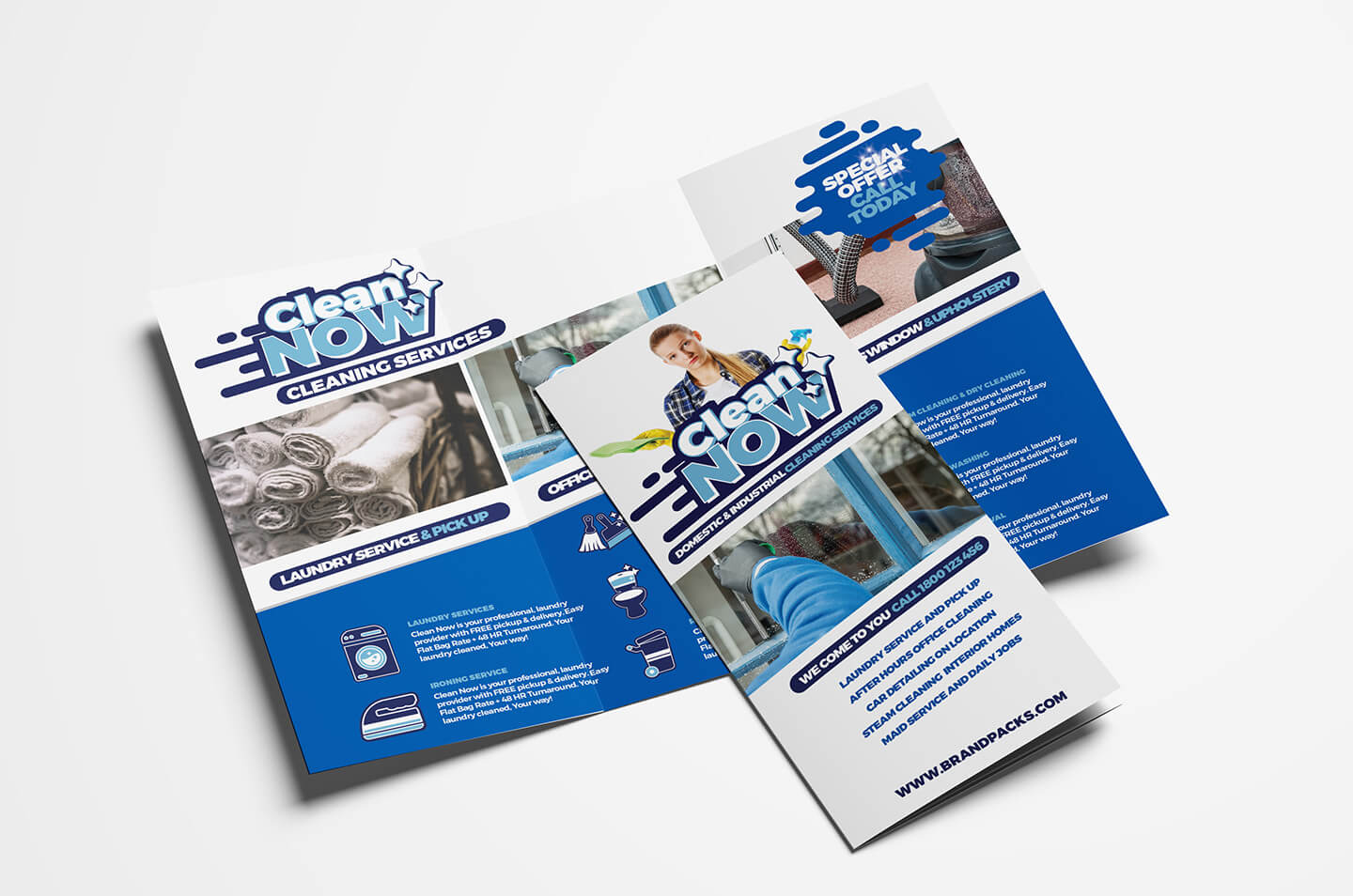 Cleaning Service Trifold Brochure Template In Psd, Ai With Regard To Cleaning Brochure Templates Free
