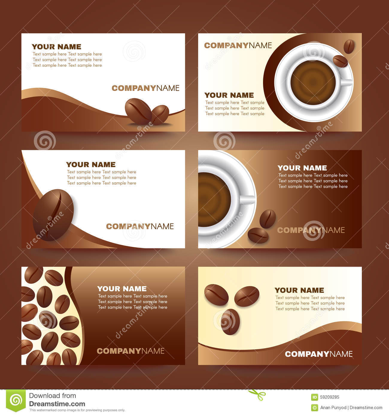Coffee Business Card Template Vector Set Design Stock Vector Regarding Coffee Business Card Template Free