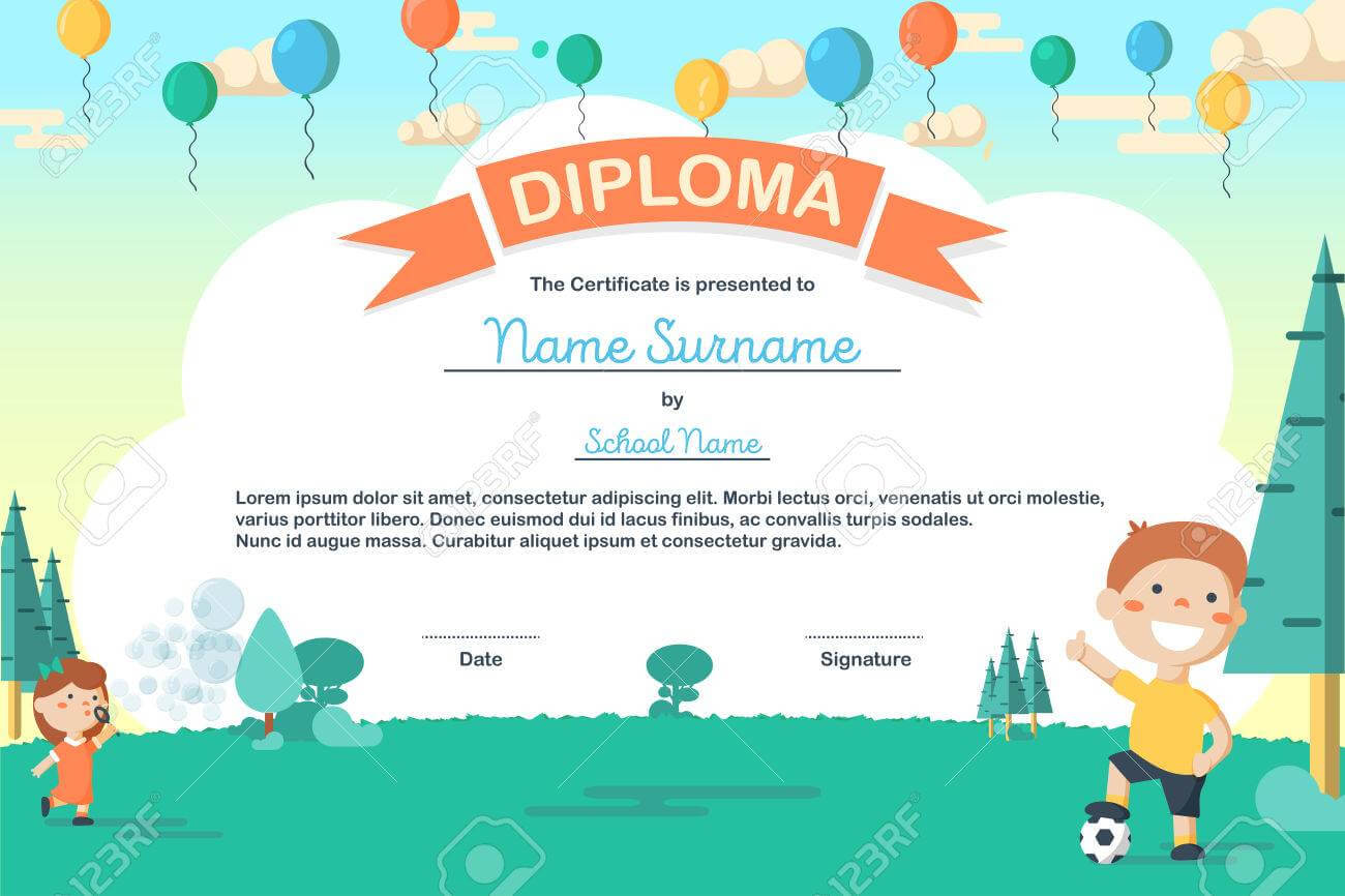 Colorful Kids Summer Camp Diploma Certificate Template In Cartoon.. Regarding Summer Camp Certificate Template
