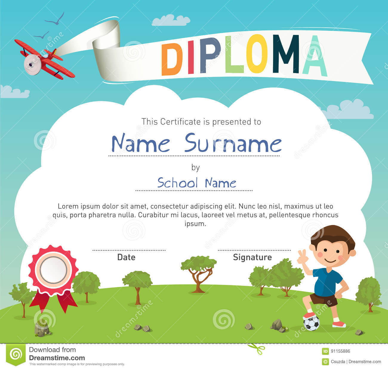 Colorful Kids Summer Camp Diploma Certificate Template Stock Regarding Summer Camp Certificate Template
