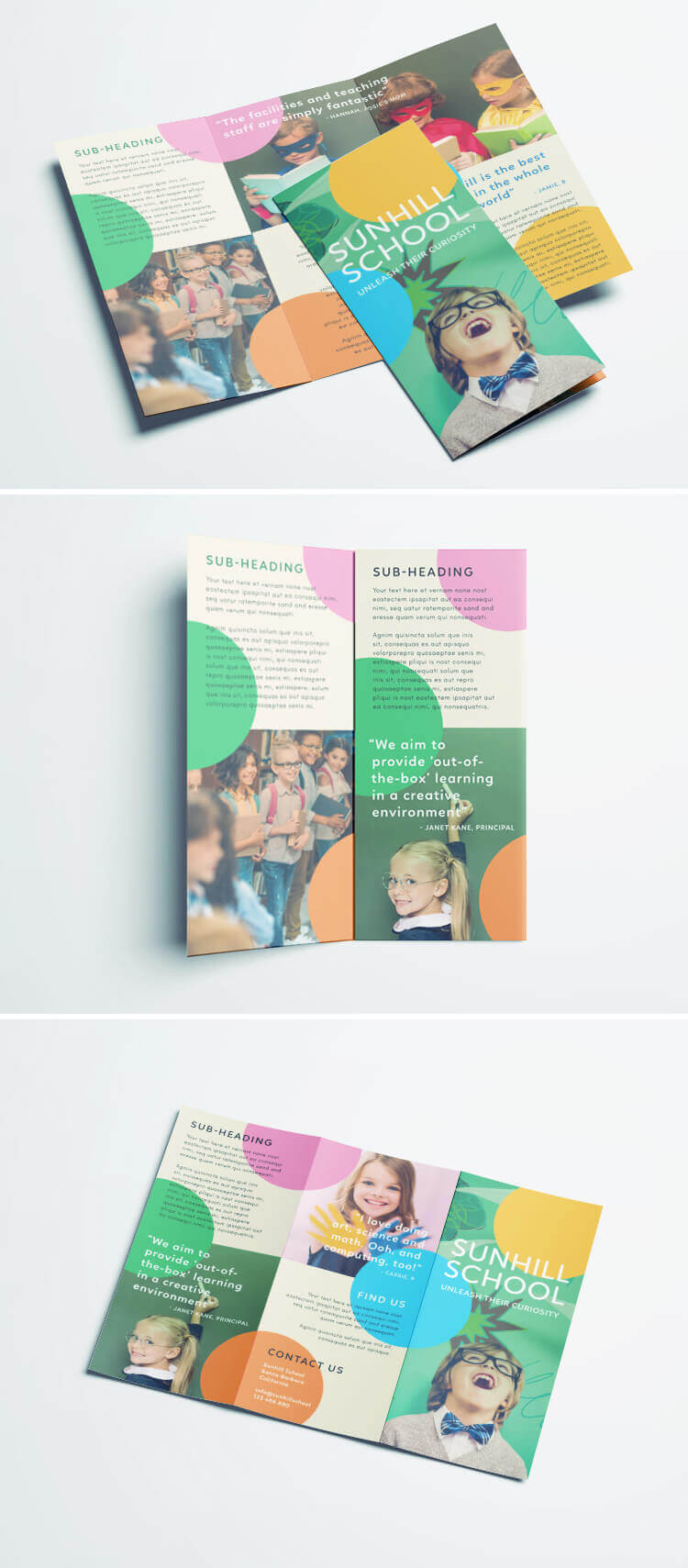 Colorful School Brochure - Tri Fold Template   Download Free Pertaining To Play School Brochure Templates
