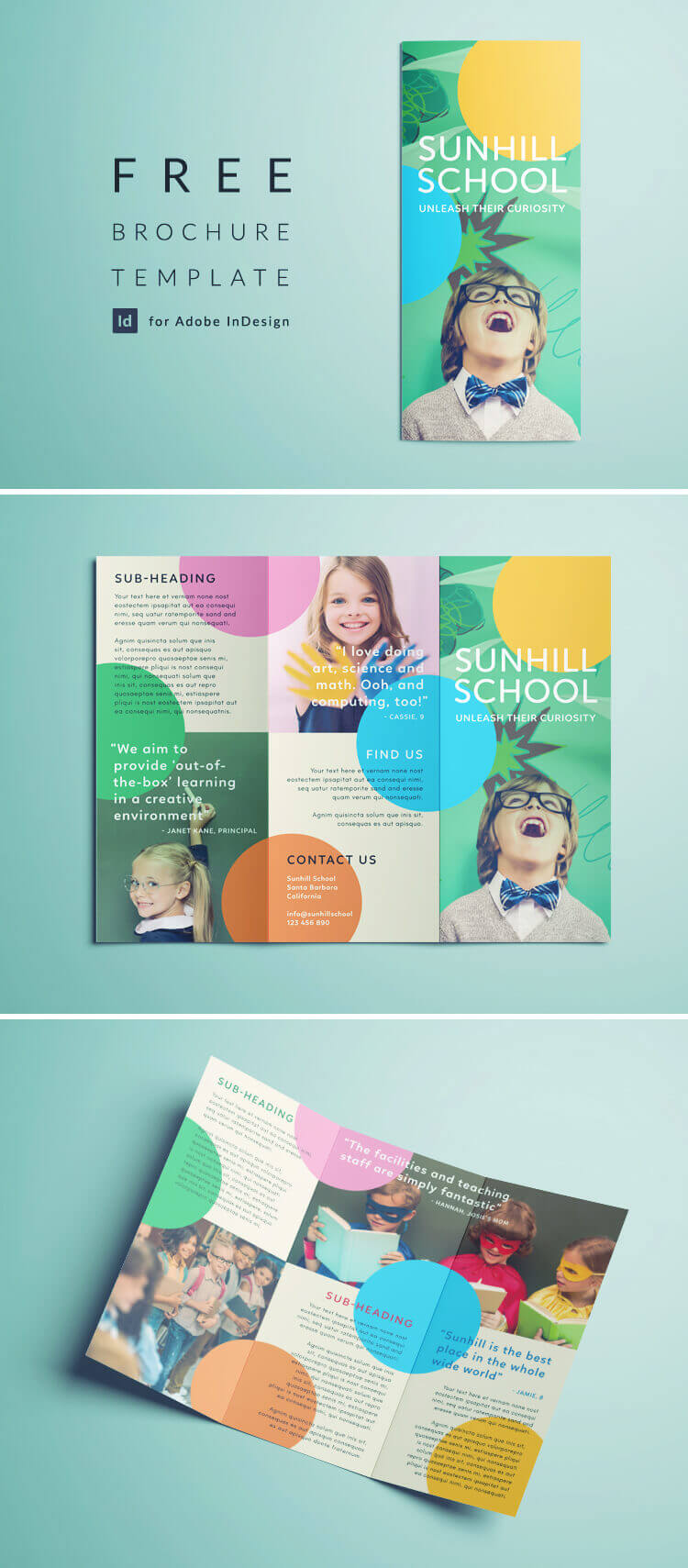 Colorful School Brochure - Tri Fold Template | Download Free Pertaining To Tri Fold School Brochure Template