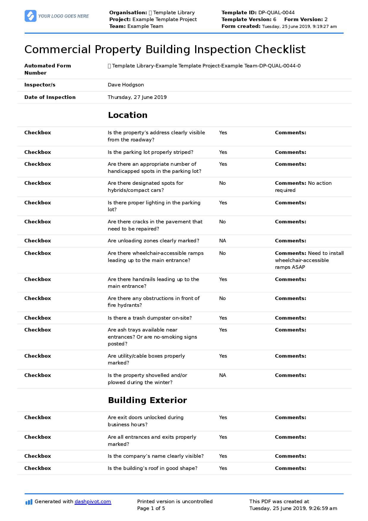 Commercial Property Inspection Checklist Template (Use It With Commercial Property Inspection Report Template