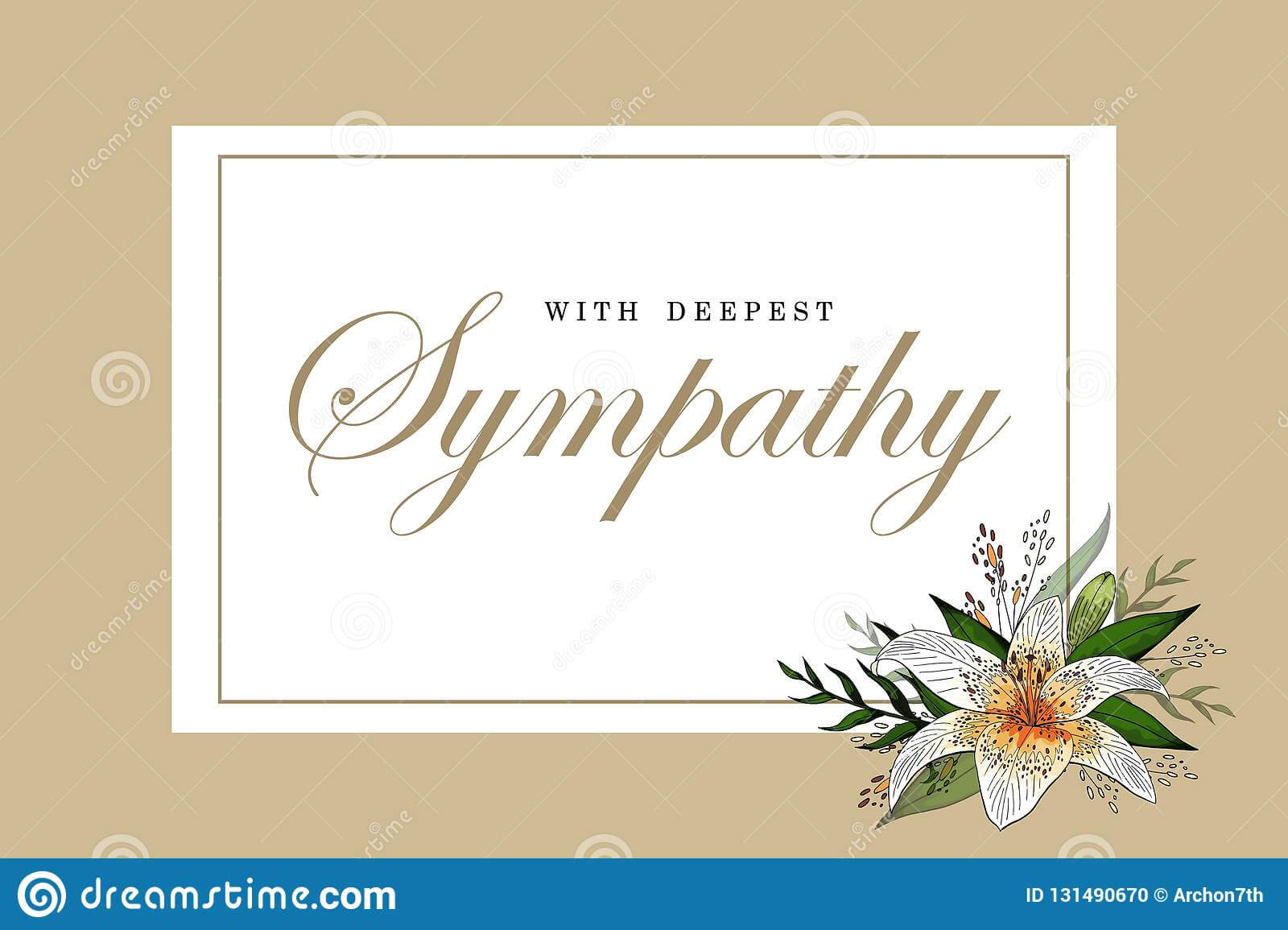 Condolences Sympathy Card Floral Lily Bouquet And Lettering Within Sympathy Card Template