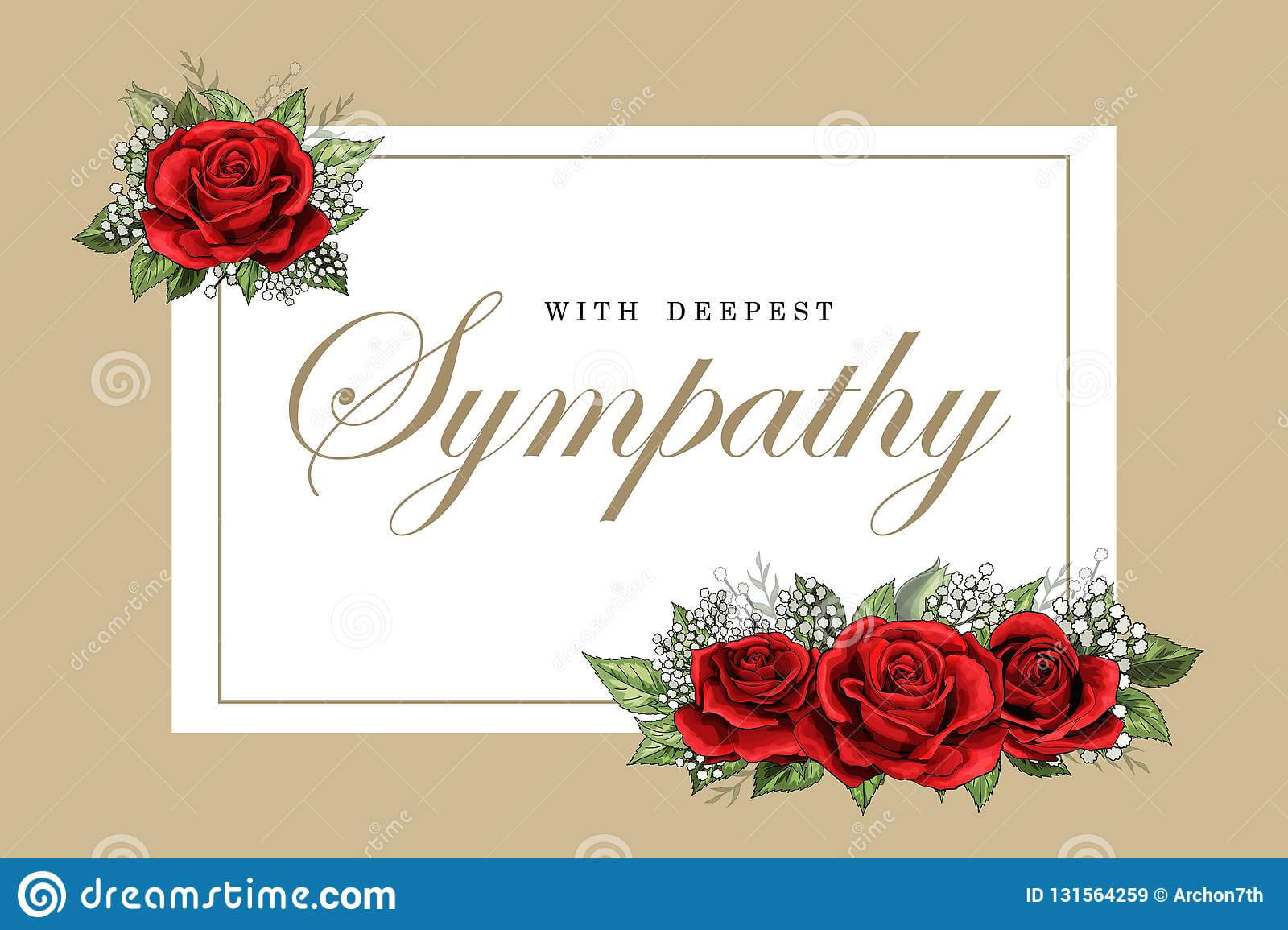 Condolences Sympathy Card Floral Red Roses Bouquet And With Sympathy Card Template
