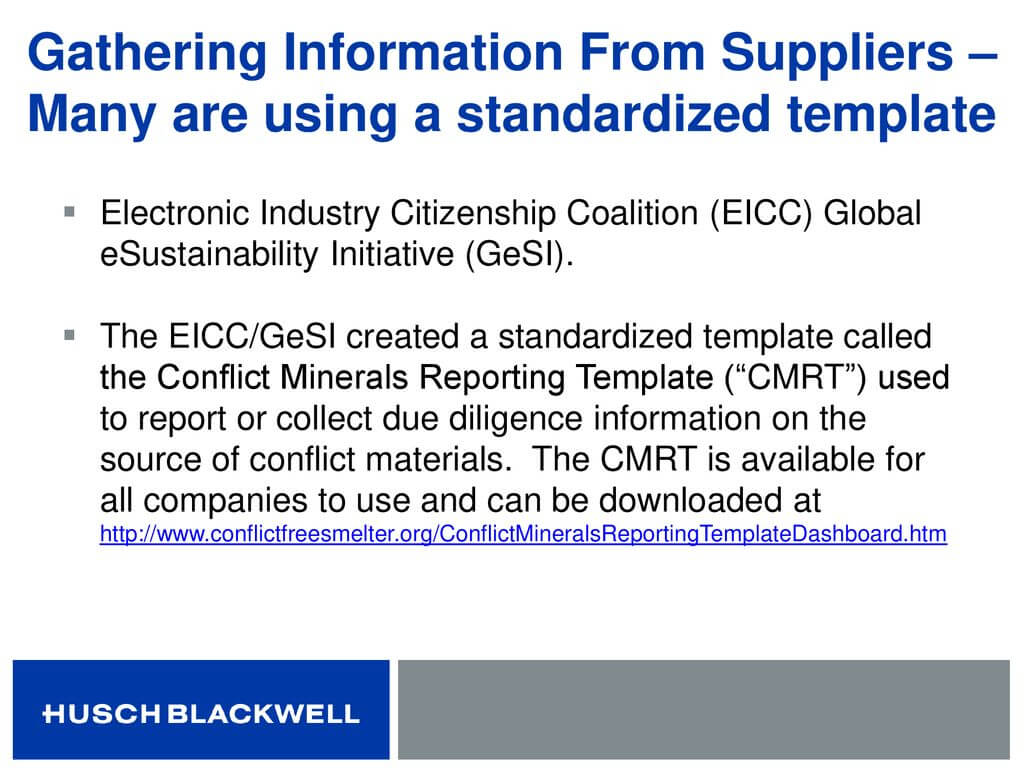 Conflict Minerals: Not Just For Public Companies – What In Eicc Conflict Minerals Reporting Template