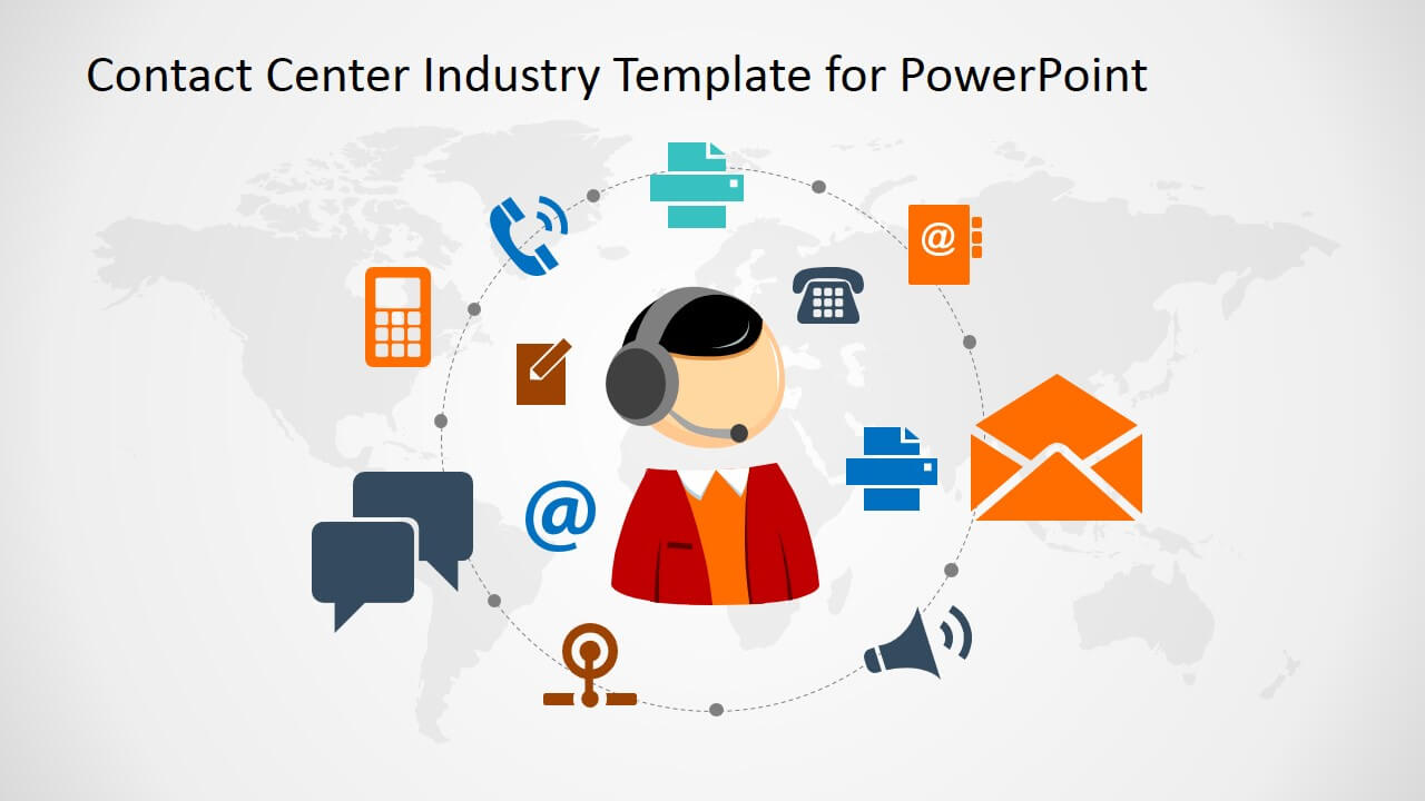 Contact Center Industry Powerpoint Template Within Powerpoint Templates For Communication Presentation