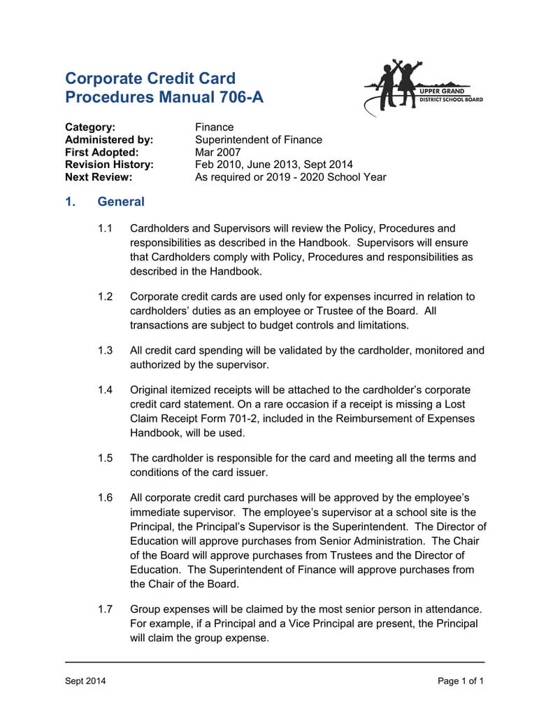 Corporate Credit Card Procedures Manual 706 A Intended For Company Credit Card Policy Template