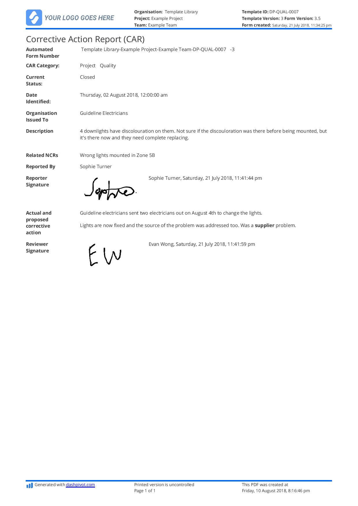 Corrective Action Report Template (Car) - Better Than Word In Corrective Action Report Template