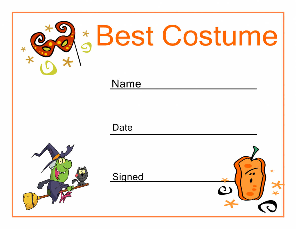 Costume Contest Certificate Template Within Halloween Costume Certificate Template