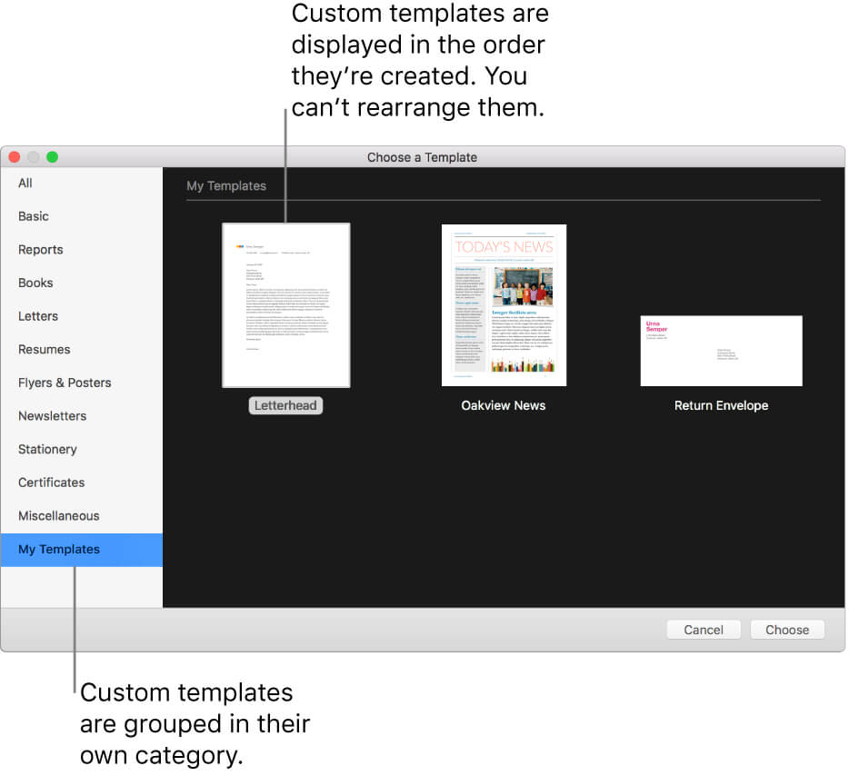 Create A Custom Template In Pages On Mac - Apple Support Inside Business Card Template Pages Mac