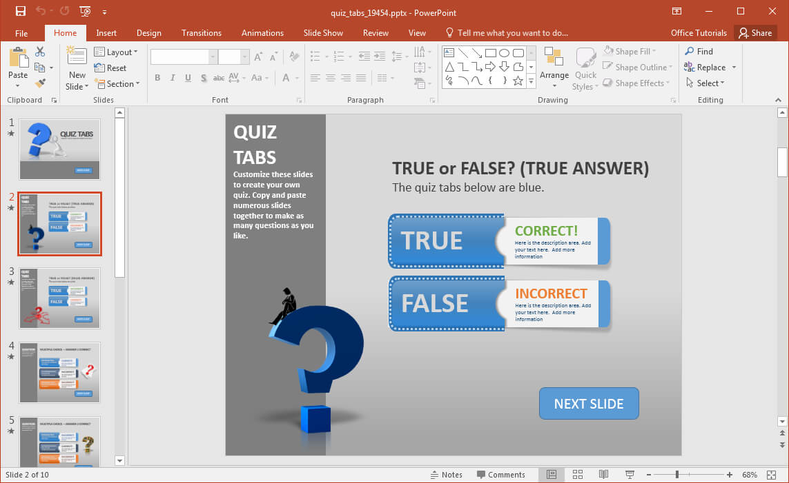 Create A Quiz In Powerpoint With Quiz Tabs Powerpoint Template With Regard To Powerpoint Quiz Template Free Download
