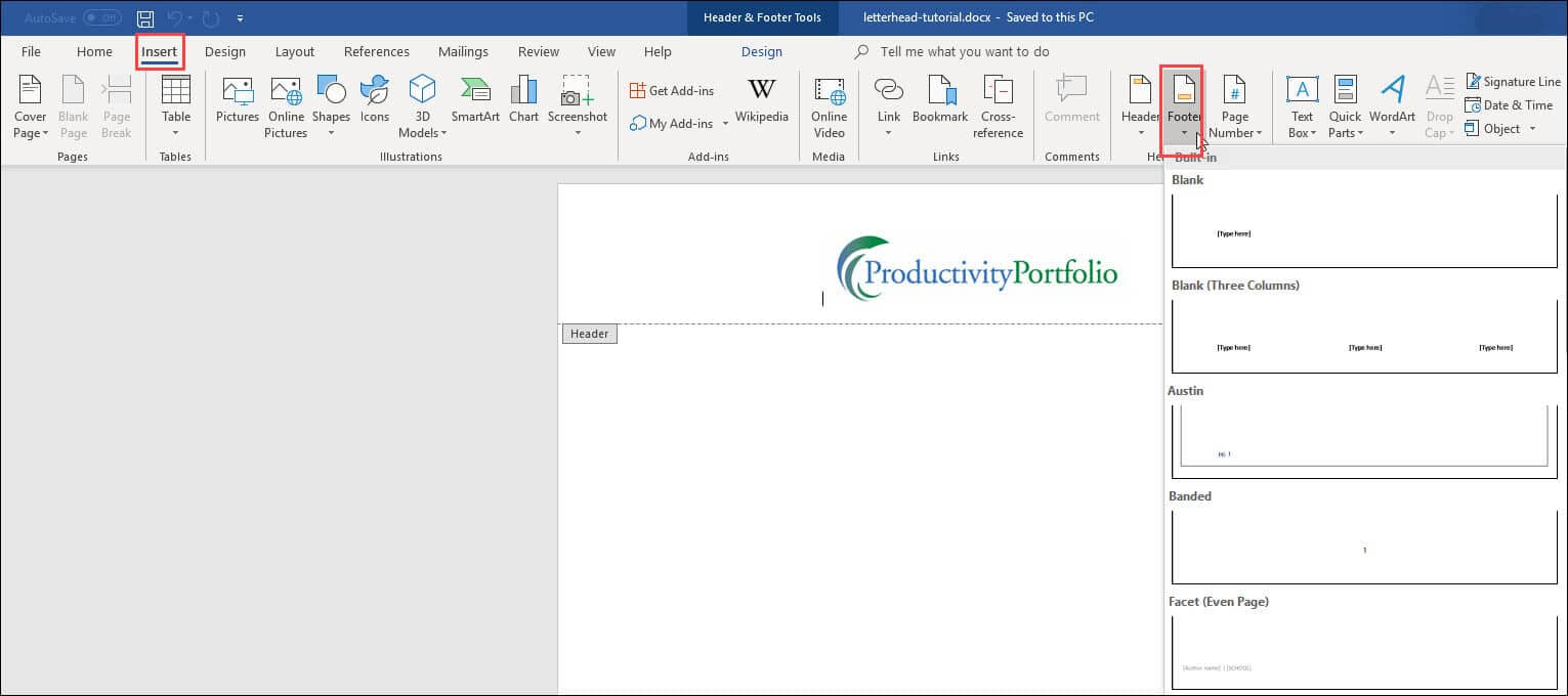 Create A Word Letterhead Template | Productivity Portfolio With Header Templates For Word