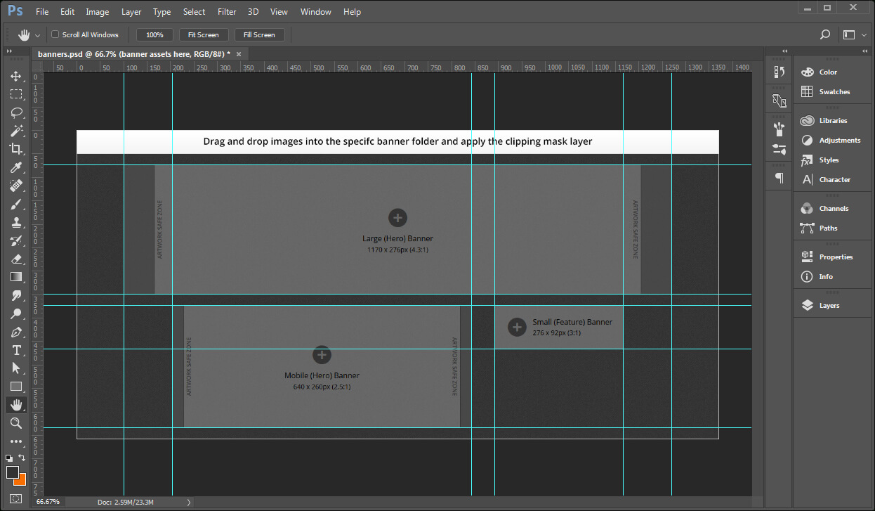 Creating Banner Images Using A Template – Documentation For Inside Adobe Photoshop Banner Templates